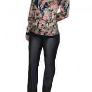 Pantalon modern lung, design clasic si croi usor evazat, nuanta gri