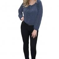 Pantalon modern, nuanta neagra, model casual, cambrat pe picior