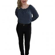 Pantalon negru din material usor elastic, masura mare, model lung
