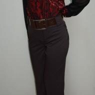 Pantalon rafinat, maro, model casual la dunga, masura mare