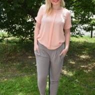 Pantalon salvar de vara, de culoare bej, din material vaporos