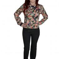 Pantalon trendy, de culoare gri, cu curea moderna