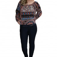 Pantalon trendy de toamnba-iarna, bleumarin cu design brodat