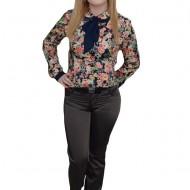 Pantalon trendy,design modern, insertii de cusaturi, nuanta gri