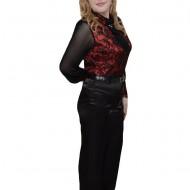 Pantalon usor lucios, talie inalta, nuanta de negru, curea clasica
