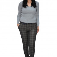 Pantaloni dama Danan in carouri,maro