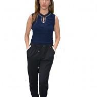 Pantaloni Shine cu strasuri,nuanat de negru