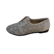 Pantof bej, practic si comod, din piele, cu decupaj in model floral