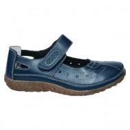 Pantof bleumarin din piele cu perforat si bareta