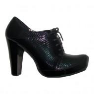 Pantof casual, de culoare neagra cu aspect de piele de reptila