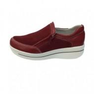 Pantof casual din piele naturala de culoare marsala