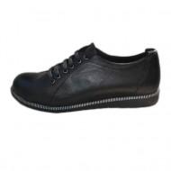 Pantof casual, negru, din piele, cu insertii de fermoar pe talpa