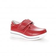 Pantof comod de zi, culoare rosie, prevazut cu bareta lata cu scai