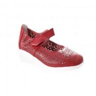 Pantof cu talpa ortopedica, din piele, rosu