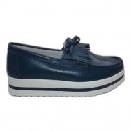 Pantof de primavara, toamna, tip mocasin, culoare bleumarin