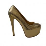 Pantof deosebit, de culoare aurie, cu toc cui foarte inalt