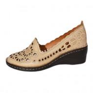Pantof din piele cu perforati fine, nuanta de crem