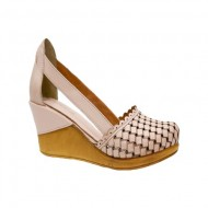 Pantof din piele roz pudra, cu talpa plina si usoara platforma
