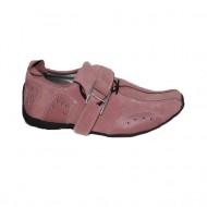 Pantof fashion, nuanta de roz, strasuri argintii aplicate