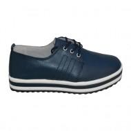 Pantof modern, tineresc, de culoare bleumarin cu talpa alba