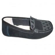 Pantof negru de zi, cu design geoametric de nuanta alba