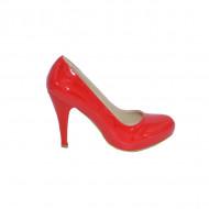 Pantof rosu din piele ecologica lucioasa cu toc inalt si platforma