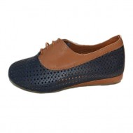 Pantof sport cu siret din piele fina, moale cu perforatii, bleumarin