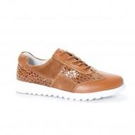 Pantof sport din piele naturala, culoare maro, cu design clasic