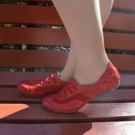 Pantof sport, talpa joasa, din piele naturala, de culoare rosie