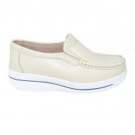 Pantofi bej cu talpa ortopedica ,din piele,model simplu