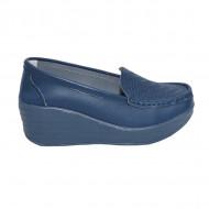 Pantofi cu platforma ,model din piele ,nuanta de bleumarin