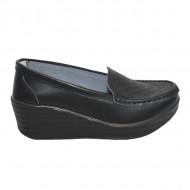 Pantofi cu platforma ,model din piele ,nuanta de negru