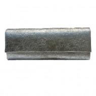 Poseta de gala, gen plic cu clapeta, aspect simplu de culoare, gri inchis,argintiu,auriu