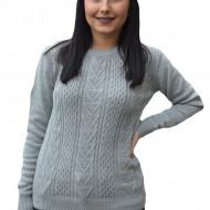 Pulover tricotat Adala cu model rafinat,gri