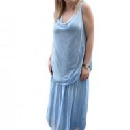 Rochie albastra masura mare, cu decolteu adanc si fara maneca
