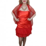 Rochie aniversara, nuanta de rosu, voal fashion aplicat