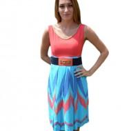 Rochie casual de vara fara maneca si imprimeu multicolor