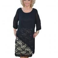 Rochie casual-elegant cu maneca trei-sferturi, negru-crem