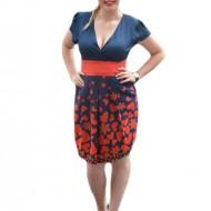 Rochie casual tinereasca, de culoare bleumarin-rosu