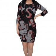 Rochie casula Raluca cu model abstract,negru-gri