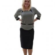 Rochie chic cu aspect de costum cu peplum, de culoare negru-alb