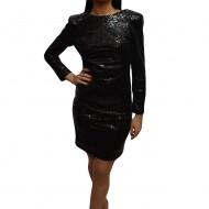 Rochie chic de ocazie, model scurt in nuanta negru cu paiete fine