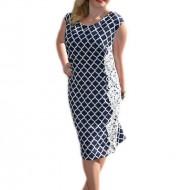 Rochie cu imprimeu geometric, nuanta de bleumarin-alb