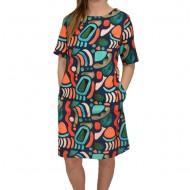 Rochie dama, de zi, croi lejer, in nuanta bleumarin, cu design abstract multicolor
