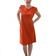 Rochie de birou, de culoare portocalie, cu doua buzunare