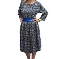 Rochie de culoare albastra, masura mare, fusta cu croi evazat