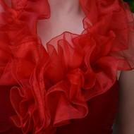 Rochie de culoare rosie, la gat cu un volan foarte bogat
