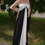 Rochie de gala, design elegant, combinatie de saten negru cu alb