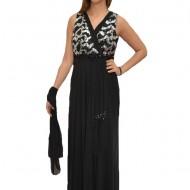 Rochie de gala lunga, cu insertii de paiete argintii, pe fond negru