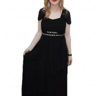 Rochie de nunta, nuanta de negru, maneci scurte din voal fin